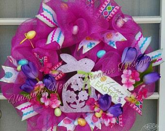 Happy Easter Wreath, Bunny Rabbit Wreath, Tulip Easter Wreath, Easter Bunny Wreath, Pink Deco Mesh Wreath, Purple Tulips