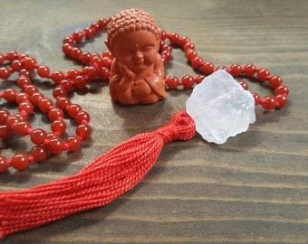 Muladhara or Root Chakra Mala Beads, 108 Carnelian Mala Beads, Yoga Jewelry, Meditation Beads, Prayer Beads, Yoga, Malas, Beaded Necklace