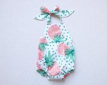 Sale Pineapple Baby Girl Romper Baby Romper Fruit Halter Beach Summer Toddler Bubble Romper Outfits Sunsuit Birthday Baby Shower Gift
