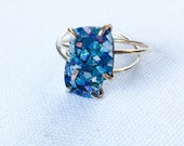 Blue Opal Ring, Australian Opal Ring, Opal Ring, Gold Opal Ring, Silver Opal Ring, Opal Mosaic, Prong Ring, Statement Ring, Gift under 50