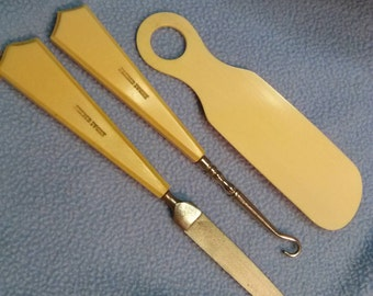 SALE!!Antique French Ivory Buttonhook, File & Shoehorn~ Celluloid (was 16.00)