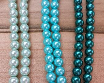 Aqua Glass Pearls, Aqua color family, Aqua, Turquoise, Teal, multiple sizes, 4mm, 6mm, 8mm, 10mm, 12mm