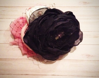 chiffon flower fasinator headband  Pink and black  with black birdcage netting & Swarovski crystal butterfly