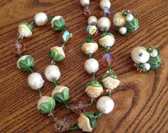 Vendome Flower, Baroque Pearl and Crystal Beaded Necklace and Earring Set 0521