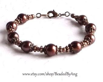 Pearl Bracelet, Pearl and Copper Bracelet, Pearl Jewelry, Beaded Pearl Bracelet, Handmade Pearl Bracelet, Brown Pearl Jewelry,