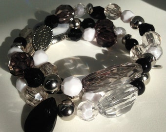 Black, white,gray, and silver wrap bracelet