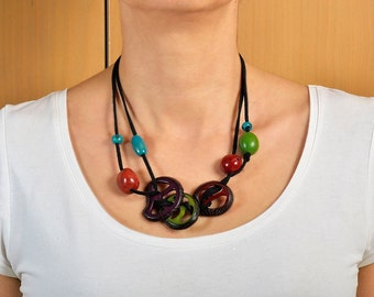 Tagua carved necklace, vegetable ivory necklace, organic jewel, black cord necklace, chunky colorful jewel, multicolor necklace, bib choker