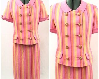 Vintage 80s Pink and Orange Striped Suit
