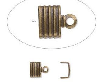 Brass Cord End, Fold Over, 6mm inside diameter, gold plate brass cord end, 6.5x4.5mm, 30 each, D717