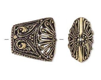 Gold Filigree Bead, Trapezoid Bead, Puffed Gold Trapezoid, 20x19mm, 2 each. D795