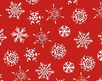 Frosty Fun Fabric Collection - Snowflakes on Red Fabric by Sue Zipkin for Clothworks Fabrics - Sold by the Half Yard