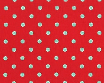 Holiday Party Fabric Collection - Red Mini Mints Fabric from Michael Miller Fabrics - Listed by the Half Yard, peppermint fabric