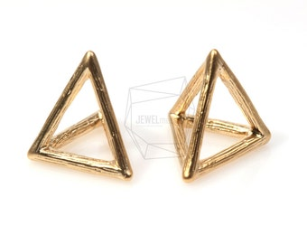 PDT-340-MG/5Pcs-3D Triangle Pyramid Pendant/ 15mm x 15mm /Matte Gold Plated over brass