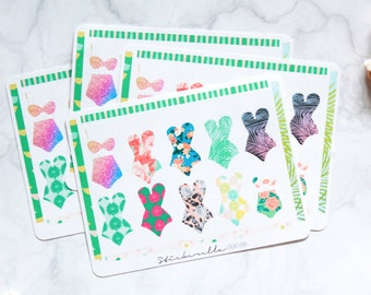 Summer Luau Planner Stickers With Washi
