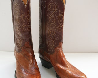 Justin Vintage Men's Boots Size 9D Leather and Eel Skin Style 9098, Registered No. 70260