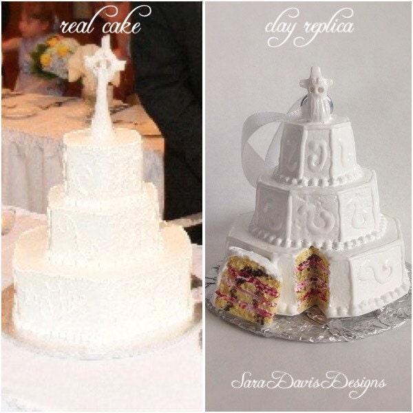 Wedding Cake Replica Wedding Cake Ornament By SaraDavisDesigns