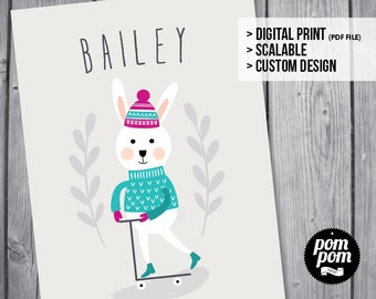 Snow Bunny Name Print - PRINTABLE DIGITAL FILE