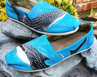 Custom Painted Ocean Whale Sharked TOMS *Free Shipping* | Ocean Blue | Whale Sharks | Hand Painted | Unique | Gift