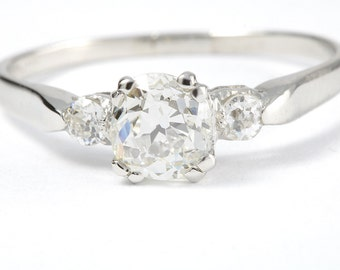 Vintage .83 carat Old European diamond platinum engagement ring. Circa 1950.
