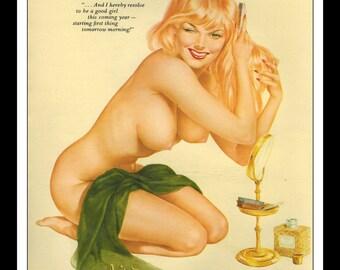 "Vargas Playboy Pinup Girl Vintage January 1963 ""Good girl.."" Sexy Blonde Nude Mature Green Towel Perfume Mirror Pinup Wall Art Deco Print"
