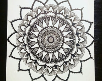 Black & white Mandala Zendala hand drawn full detail exquisite art drawing