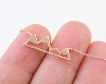 Rose Gold Mountain Necklace, Dainty Mountain Pendant Necklace, Snowy Mountain Top Necklace,Mountain Necklace, Birthday Gift,RNK-3000