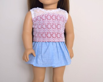Light blue skirt 18 inch doll clothes