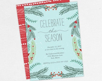Christmas Party Invitations, Celebrate the Season Invitations, Holiday Party Invitations, Printable Christmas Invitations, Printed Christmas