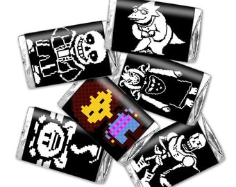 Undertale Mini Candy Wrappers Black - fits hershey's miniatures - INSTANT DOWNLOAD