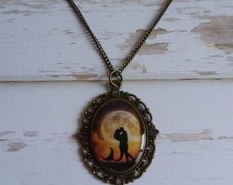 Mermaid love pendant necklace