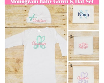 Monogram baby gown & Monogram beanie set, Monogram baby gown, Personalized hat, Monogram homecoming outfit, Baby Hospital outit