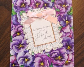 1950s USED Card, Easter Card, no envelope, ribbon, pansys, purple, floral