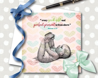 """New Baby Card - """"Every Good Gift"""" NWT, JW Gift"""