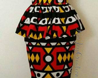 African Clothing: Tendi African Print Peplum Skirt