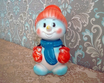 Vintage Soviet rubber toy Snowman Collectibles Made in USSR