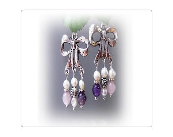 Amethyst, Rose Quartz, genuine pearl chandelier earrings - Choose your fittings