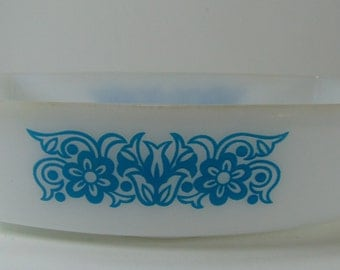 REDUCED - Vintage Federal Bouquet Pattern Loaf Pan, White and Blue, Turquoise Loaf Pan