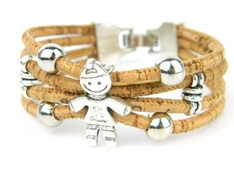 Portuguese cork, a lovely Boy bracelet, original jewelry, handmade, eco-friendly materials, Europe Shipping