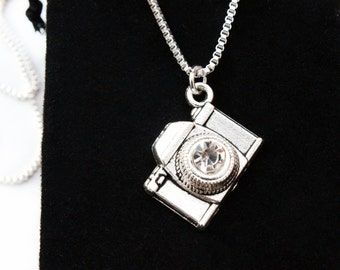 Sterling Silver Necklace, Camera Necklace, Silver Necklace, Silver Jewellery, Camera Charm, silver Gift, jewelry pendant