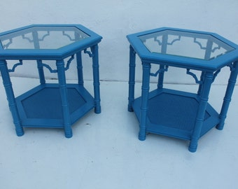 Faux Bamboo Octagonal Blue Side tables A Pair.