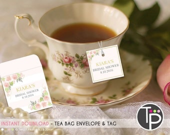 TEABAG ENVELOPE, Instant Download, High Tea Party Favor, Teabag tags, Floral Teabag tags, Tea Bag Tags, Edit text with Adobe Reader