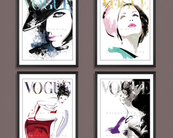 Fashion Illustration, fashion art print, Fashion poster, Vogue poster, Vogue print, Vogue magazine, fashion wall art, Set of 4 prints, 3265