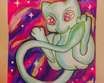 Shiny Galactic Mew Print Drawing Pokemon Art
