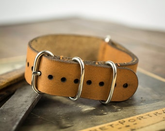 Handmade nato, nato strap, leather watch strap 20 mm. Made of leather.
