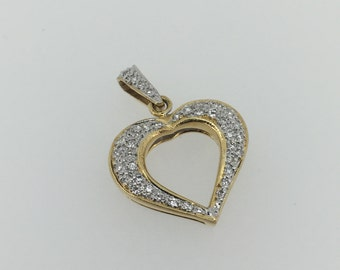 18K Gold and Diamond Heart Pendant