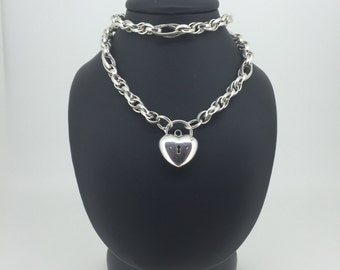 925 Sterling Silver Oval Belcher Links Padlock Necklace. Total weight: 38.4gr. Stunning gift idea!