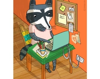 Racoon Geek-Animal Illustration-Gift for geeks-Home Decor-Kids Room Print-Office Decor-Quirky Art-Colourful Print-Orange (8 X 10 in)