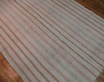 Vintage Turkish Chaput Kilim Rag Rug 5'2''x11'5'' Flatweave