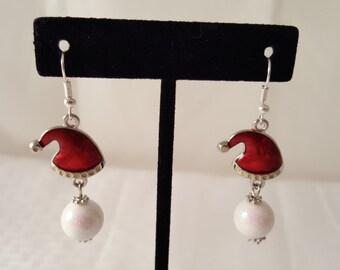 Christmas Earrings - Santa Earrings - Holiday Earrings - Hat Earrings - Snow Ball Earrings - Winter Earrings - Santa Clause Earrings -Red