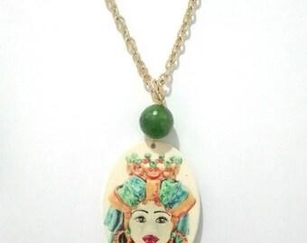 Sicilian Head long necklace